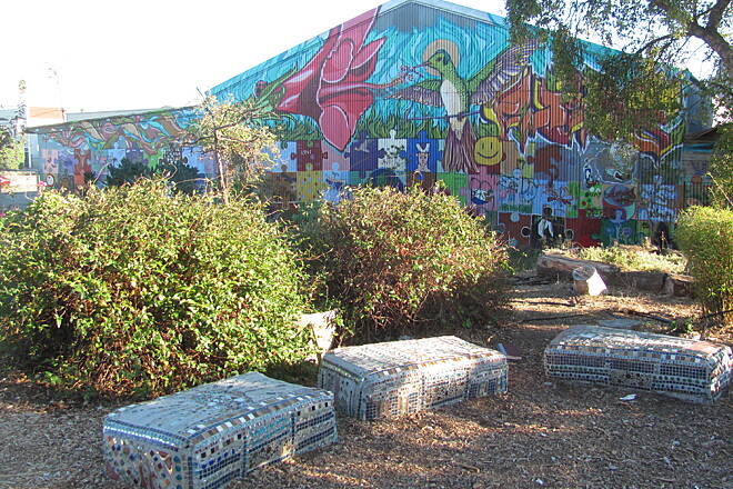 Richmond Greenway Humming Bird Garden and Mural Art, Gardens, and Placemaking enhance the trail