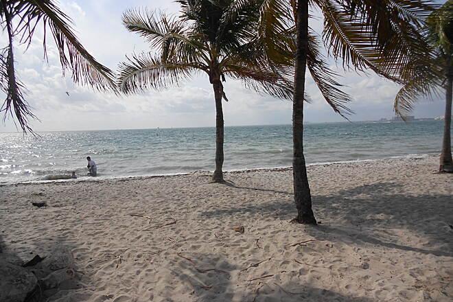Rickenbacker Trail Beach and Biscayne Bay next to Sunburn in December