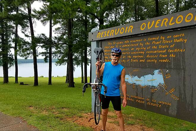 Ridgeland Natchez Trace Multi-Use Trail Cycling on the trail Enjoying the view of the reservoir lookout with my brother on his birthday