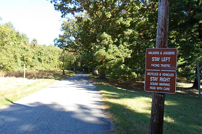 Ridley Creek State Park Trail Ridley Creek State Park Trail Signs explaining trail etiquette; although the roads that form most of the trail's route are no longer open to through traffic, they are still used by people who live in several private homes, as well as park maintenance vehicles. Caution is advised.