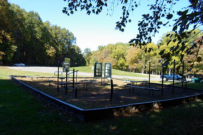 Ridley Creek State Park Trail Ridley Creek State Park Trail The trail provides easy access to numerous facilities in the park, including this fitness station and picnic grove off Forge Road.