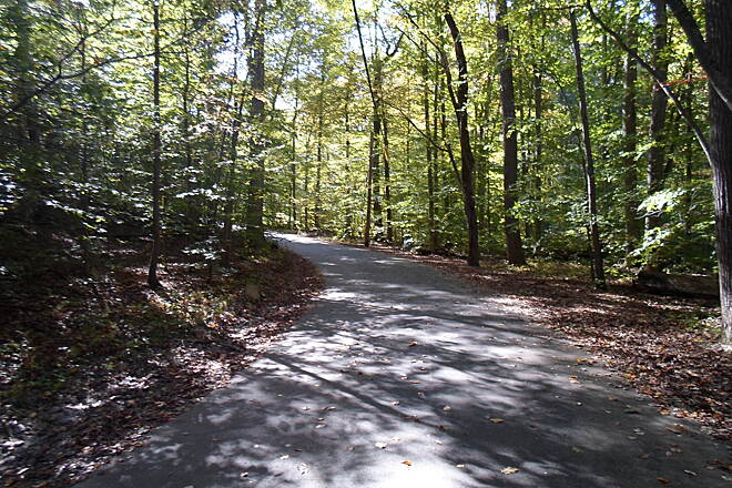 Ridley Creek State Park Trail Ridley Creek State Park Trail Unlike the Forge Road section, which is straight and passes through both woods and fields, the Sycamore Mill Road portion of the trail winds through forests along Ridley Creek for most of its length.