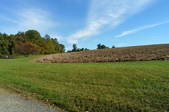 Ridley Creek State Park Trail Ridley Creek State Park Trail The offroad segment of trail in the west end of the park passes through fields and meadows. This cornfield was freshly harvested, as of Oct. 2016.