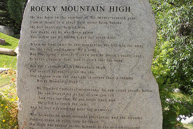 Rio Grande Trail Rocky Mtn High Words to 'Rocky Mtn High' etched in stone at John Denver Contemplation area.