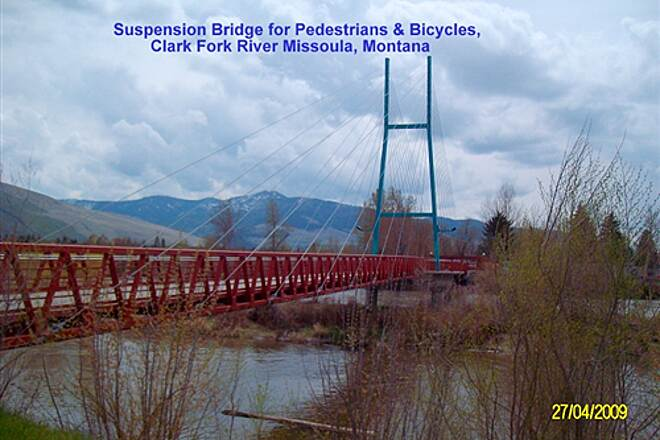 Riverfront Trail (MT) Ron McDonald Riverfront Trail System Suspension Bridge over Clark Fork River