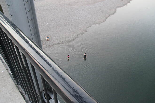 Riverfront Trail (OR) August 2014 Swimmers below the converted railroad trestle on a perfect summer evening