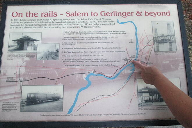 Riverfront Trail (OR) August 2014 Railroad history in West Salem