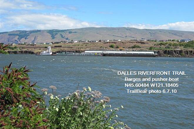 Riverfront Trail at The Dalles THE DALLES RIVERFRONT TRAIL Lot of barge traffic - mostly grain.