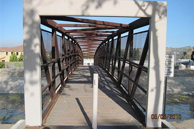 Robert McCollum Memorial Bicycle Trail TRABUCO CREEK - EAST BANK TRAIL, SJC, CA. This bridge goes to the west bank trail.