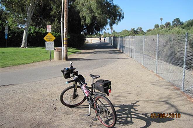 Robert McCollum Memorial Bicycle Trail TRABUCO CREEK - EAST BANK TRAIL, SJC, CA. Gutterbunny at trail's end.  'More! You want more?!'