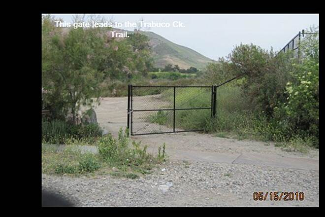 Robert McCollum Memorial Bicycle Trail TRABUCO CREEK TRAIL, SJC, CA The black gate is the one you want.