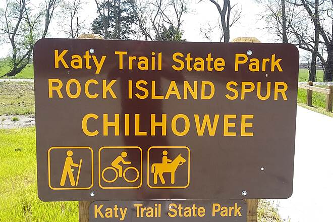 Rock Island Spur of Katy Trail State Park Convenient Parking Along The Trail Convenient parking at Chilhowee, Mo rail/trail community.