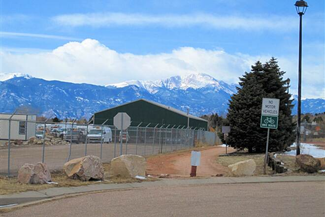 Rock Island Trail (CO) Eastern Trailhead and Parking Cul-de-Sac with Pikes Peak in Background - Feb 13, 2010 Eastern Trailhead and Parking Cul-de-Sac with Pikes Peak in Background - Feb 13, 2010