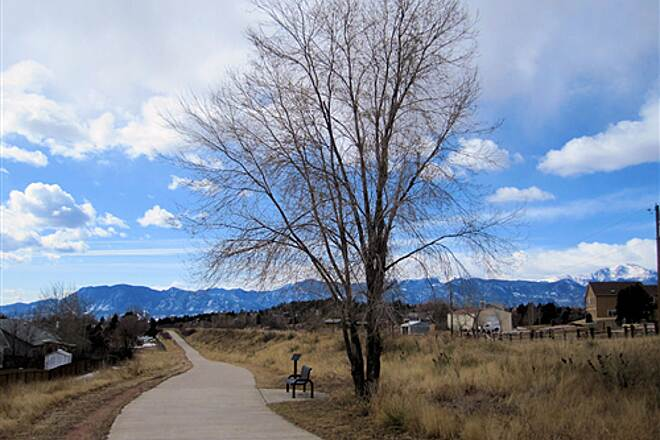 Rock Island Trail (CO) Trail Near Powers Trailhead - Pikes Peak on Left, Cheyenne Mtn on Right in Background - Feb 13, 2010 Trail Near Powers Trailhead - Pikes Peak on Left, Cheyenne Mtn on Right in Background - Feb 13, 2010