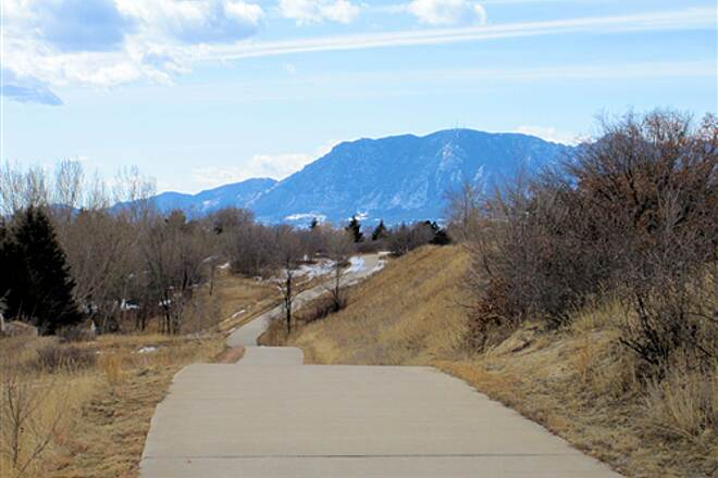 Rock Island Trail (CO) Trail Westward with Cheyenne Mountain in Background - Feb 13, 2010 Trail Westward with Cheyenne Mountain in Background - Feb 13, 2010