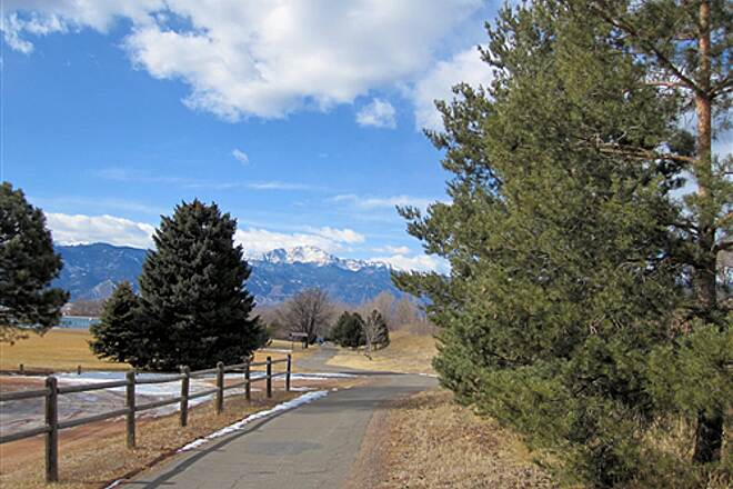 Rock Island Trail (CO) Trail Westward with Pikes Peak in Background - Feb 13, 2010 Trail Westward with Pikes Peak in Background - Feb 13, 2010