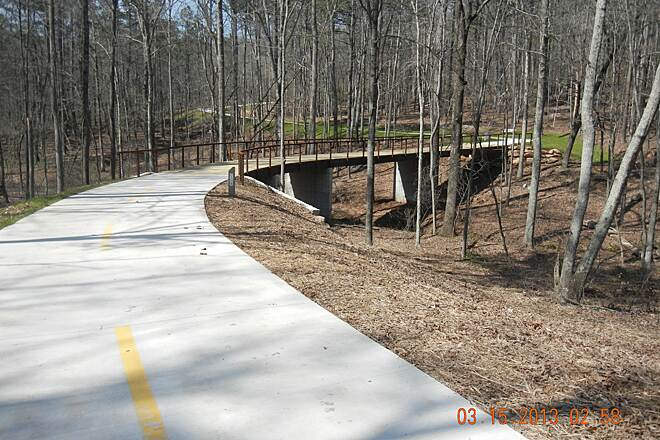 Rockdale River Trail Serpentine Bridge Looking NW A very serpentine bridge structure and it is the start of the Mt. Sprayberry uphill climb.