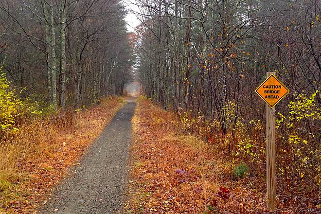 Rockingham Recreational Rail Trail (Portsmouth Branch) Trail at Halls Mill Road Here is a picture of the trail in November where it crosses at Halls Mill Road in Newfields, NH.