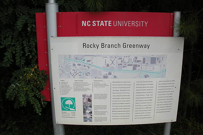 Rocky Branch Trail (NC) Map of Rocky Branch Greenway Along Sullivan Dr., on the NC State Univ. campus