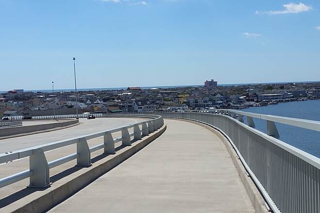 Route 52 Bridge Trail First Steep Elevation With The Road And Bikeway A great view of the road,bikeway, and Ocean City.