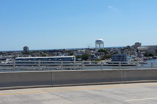 Route 52 Bridge Trail Ocean City This Picture is the water tower, ferris wheel, various buildings and ocean in the background. Location was from high point near the south end.
