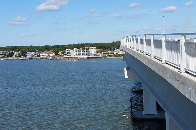 Route 52 Bridge Trail Second High Point On The Bridge This picture is a shot of the bridge on the north end of trail. Also, shows the bay and Summers Point. Location was an observation deck on the north end high point.