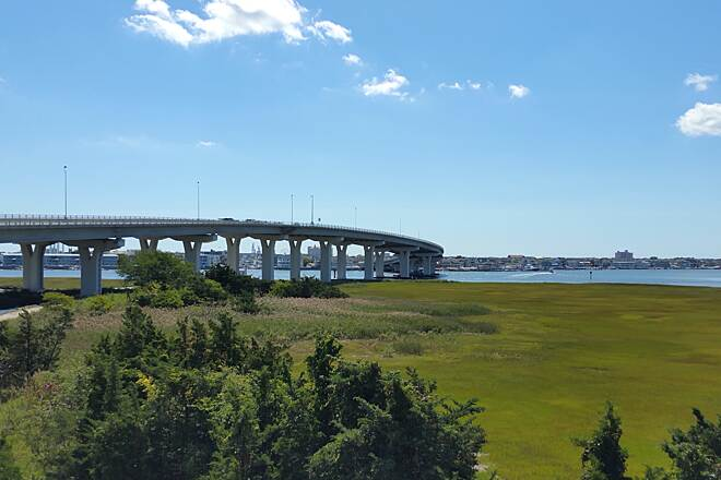 Route 52 Bridge Trail Bridge,Wetlands, Bay, and Ocean City A great panoramic view of the area.Photo was taken from the Welcome Center,