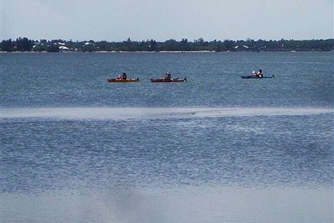 Route A1A Trail Kayakers on Indian River Lagoon Biking along Indian River from Sebastian Inlet Park