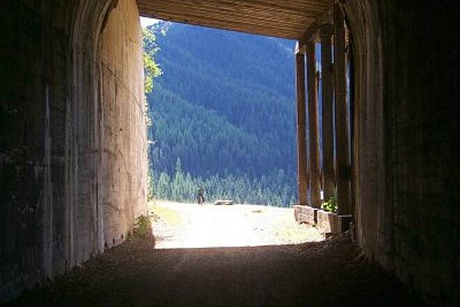 Route of the Hiawatha Tunnel Looking out from one of the many tunnels.
