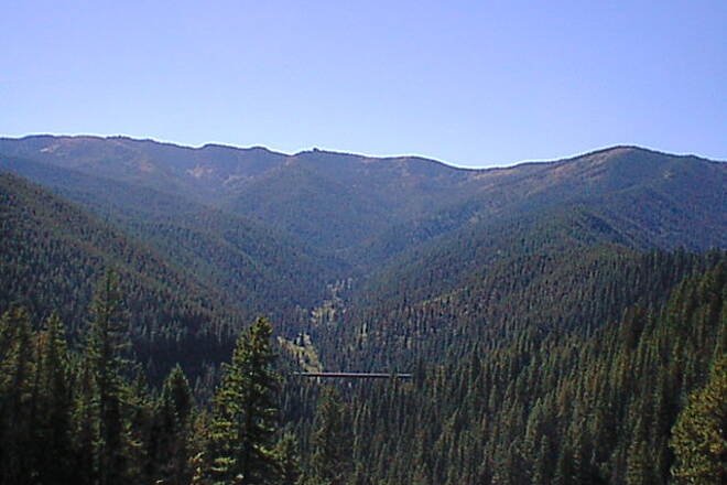Route of the Hiawatha Trestle in the distance Looking down the valley at another trestle.