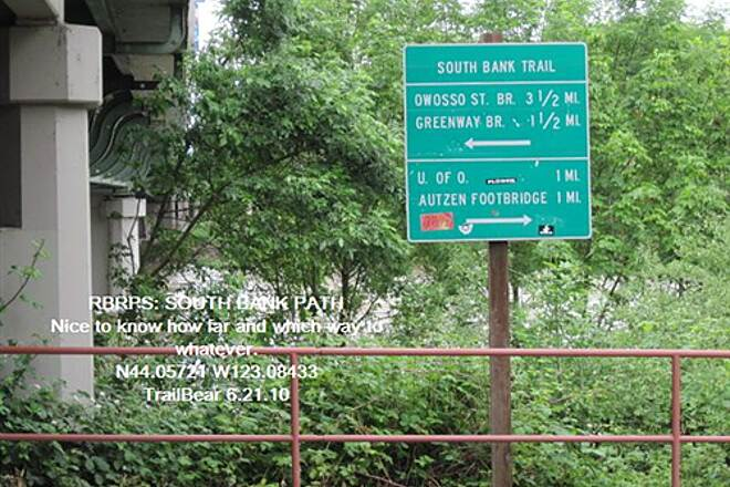 Ruth Bascom Riverbank Trail System RBRPS: SOUTH BANK PATH So rare to have trail signs give distances.