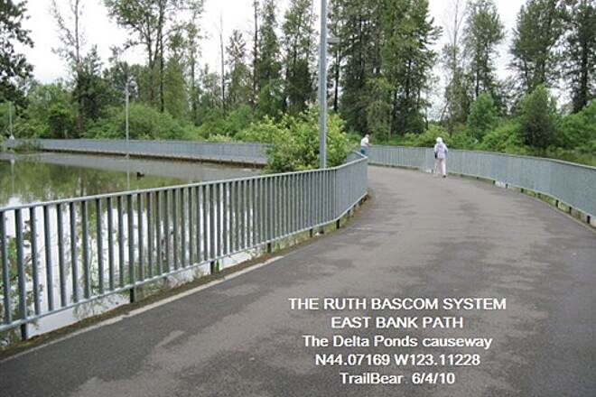 Ruth Bascom Riverbank Trail System RBRPS: EAST BANK & NORTH BANK PATHS Trail on causeway in Delta Pond