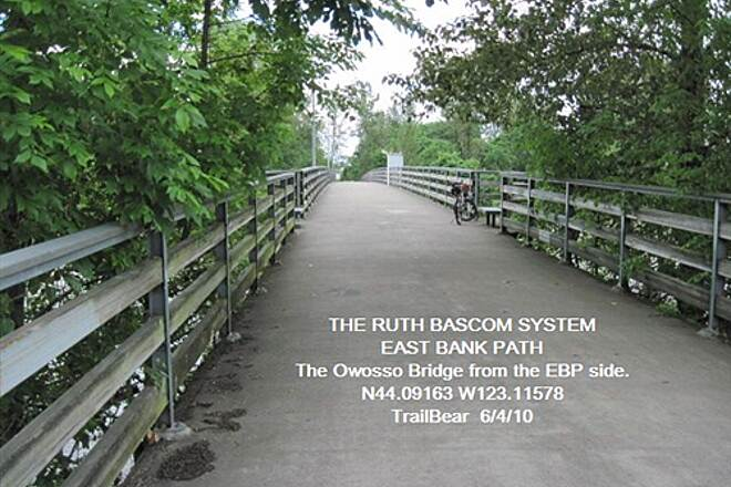 Ruth Bascom Riverbank Trail System RBRPS: EAST BANK & NORTH BANK PATHS Owosso Bridge from the East Bank Path
