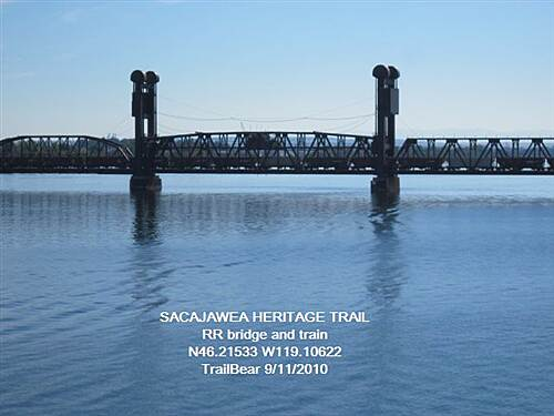 Sacagawea Heritage Trail SACAGAWEA HERITAGE TRAIL RR bridge from the cable bridge