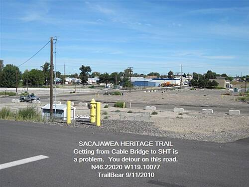 Sacagawea Heritage Trail SACAGAWEA HERITAGE TRAIL On the Pasco side of the cable bridge, the trail is WHERE?