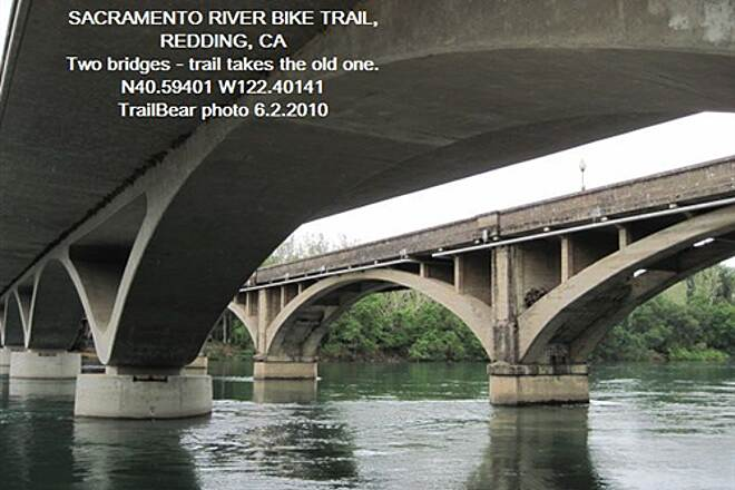 Sacramento River Trail SACRAMENTO RIVER TRAIL, REDDING, CA    The two bridges.