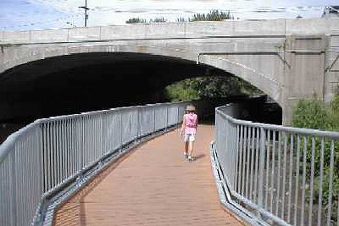 "Saddle River Area Bike Path - Bergen County ""Floating"" Bikeway/Walkway Passing under NJ Route 4."
