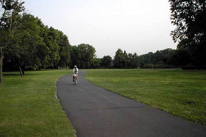 Saddle River Area Bike Path - Bergen County Saddle River Area Bike Path Trail surface and Right-of Way in Fair Lawn.