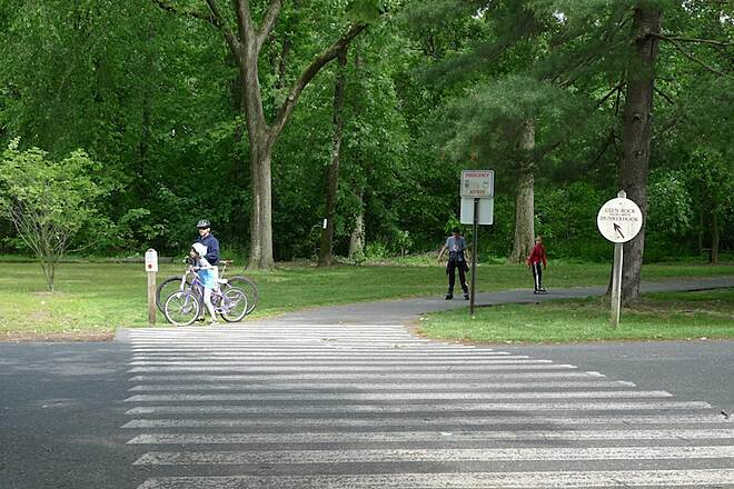 Saddle River Area Bike Path - Bergen County The trail entrance is across a parking lot near the exit from the park