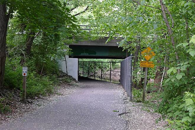Saddle River Area Bike Path - Bergen County One of the underpaths under a bridge