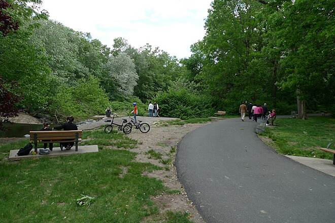 Saddle River Area Bike Path - Bergen County Waterfall: a popular stop along the tail