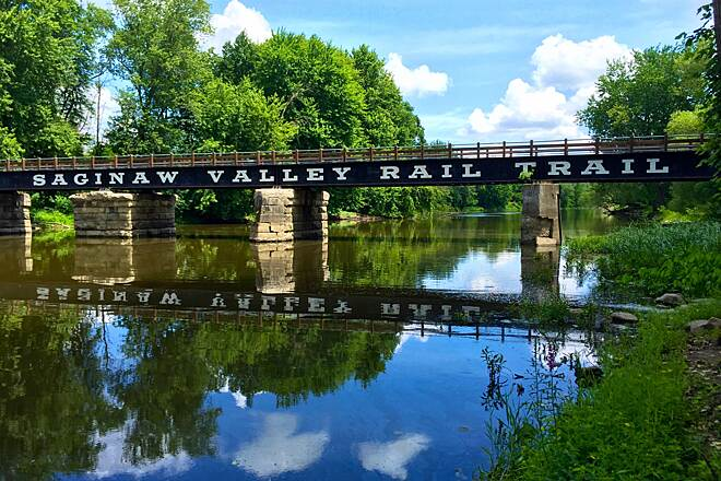 Saginaw Valley Rail Trail Bridge Crossing the Bad River at St Charles