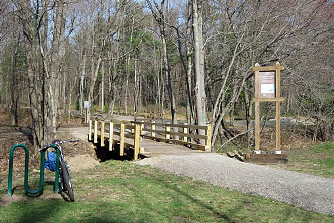 Salisbury Point Ghost Trail Salisbury Point Ghost Trail Entrance @ Lions Park Looking west at the entrance to the trail from Lions Park parking lot.