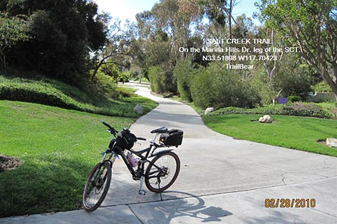 Salt Creek Trail (CA) SALT CREEK TRAIL - NIGUEL RD. ARM The official trail crosses Marina Hills Dr.  I am going along MHD for a loop.