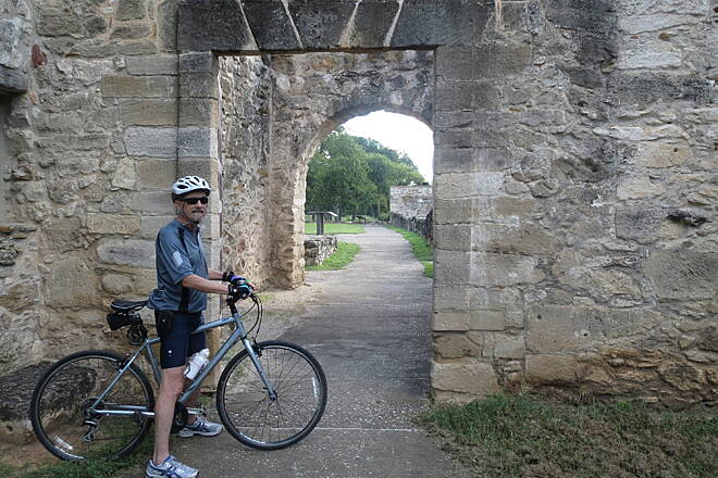 San Antonio River Walk Hike & Bike Path San Juan Mission  On the Mission reach portion of the river