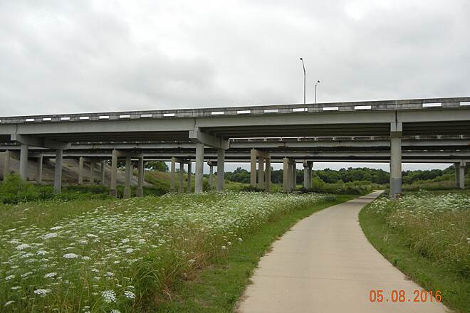 San Antonio River Walk Hike & Bike Path Mission Trail  Trail runs under I-410, along the river and has beautiful wildflowers!  Well maintained.