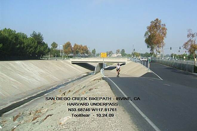 San Diego Creek Trail San Diego Creek Bikeway, Irvine, CA The Harvard St. Underpass - one of many such
