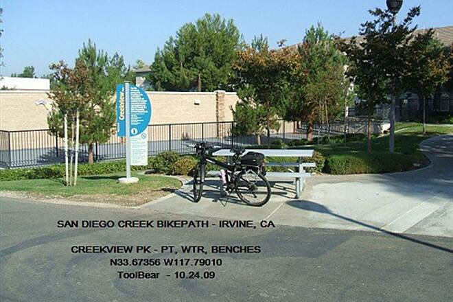 San Diego Creek Trail San Diego Creek Bikeway, Irvine, CA Creekside Park is a nice spot for shade and water.