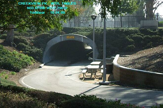 San Diego Creek Trail San Diego Creek Bikeway, Irvine, CA Picnic tables and water fountain just before Yale Underpass