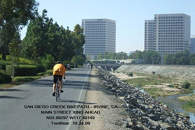 San Diego Creek Trail San Diego Creek Bikeway, Irvine, CA The sun is out and the traffic is up.